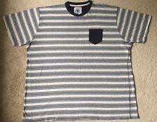 Flintoff By Tacamo Men's  Shirt Short Sleeve T-Shirt SZ 3XL Solid Blue Strips
