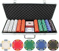 500 Casino Vegas Poker Chips Set Game Black Jack Playing Cards Chips Dice Case