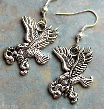 "Silver tone "" on the wings of an Eagle "" Bird and snake serpant earrings"