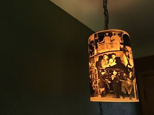 Vintage Laurel And Hardy Hanging Lamp with Chain  ~Rare~