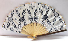 Handmade Batik Bamboo Folding Hand Fan White Blue (S) New