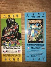 NFL-HISTORY OF THE SUPER BOWLS TWO REPLICA TICKETS 1968 & 2003
