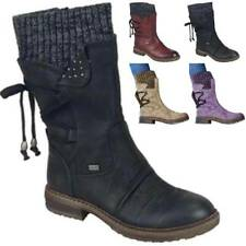 Ladies Fleece Ankle Boots Lace Up Ladies Winter Warm Casual Round Toe Shoes NEW