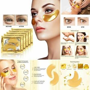 Gold Eye Mask Patches Collagen Crystal Gel Powder Bio Pad Face Anti Aging New