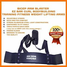 BICEP ARM BLASTER EZ BAR CURL BODYBUILDING TRAINING FITNESS WEIGHT LIFTING ARMS