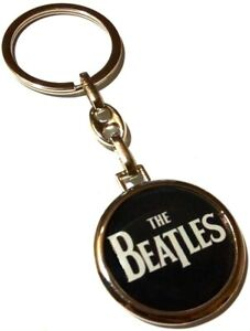 THE BEATLES Band Logo Metal Round Double Sided Keyring Keychain Rock Merchandise