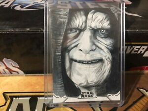 2020 Topps Holocron Star Wars Sketch Card Lindsey Greyling 1/1 Emperor Palpatine