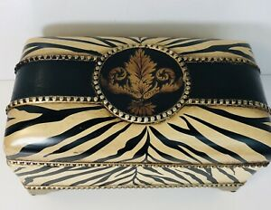 Carolyn Kinder Designer Storage Vanity Box Zebra Animal Print with Lid