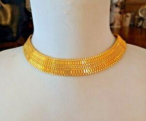 VINTAGE CHOCKER NECKLACE 1970/80s Watch Chain Gold Tone Safety Catch Stunning.