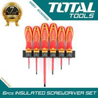 Total Tools - INSULATED SCREWDRIVER SET 6Pcs Electricians Cross Flat Posi