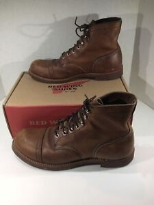 Men/'s Vintage Brown Leather RED WING Shoes Steel-Toe Work Safety Boots Sz-8.5E Wide