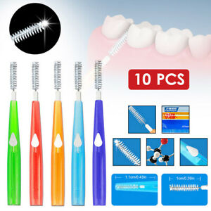 10pcs Interdental Brush Teeth Clean Brace Brush Retractable Brush Head 5 Sizes