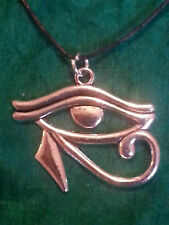 Eye of Horus Pendant On Black Leather Cord Necklace Egyptian Protection