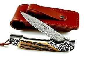 "Drop Point Folding Knife Pocket Hunting Survival Damascus Steel Antler Handle 3"""