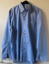 Blau/weiß gestreiftes Trachtenhemd Langarm Gr. 41 von Trachtenalm Rottach Egern