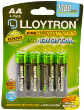 4 Lloytron AA Rechargeable Batteries 1300 mAh NiMH Phone Remote Camera HR6 Accu