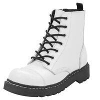 T.U.K. White Leather 7 Eye Zip Anarchic Punk Combat Boots Gothic Rock Wedding