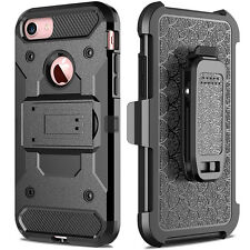 Heavy Duty Hybrid Hard Armor Case For iPhone 5S SE 5G With Belt Clip Stand Cover