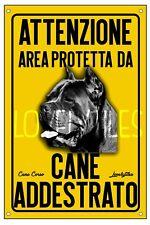 CANE CORSO AREA PROTETTA TARGA ATTENTI AL CANE CARTELLO PVC GIALLO