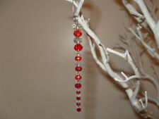 5x Christmas Tree unique Bespoke Decoration crystal Icicle Bauble hanging red