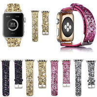 For  apple watch Band Watch Band Leather Wrist Strap Bling Series 6 5 4 3 2 1 SE