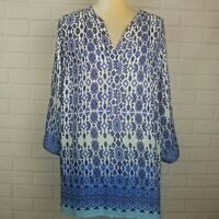 Womens Plus Size Blue Sheer Top Blouse