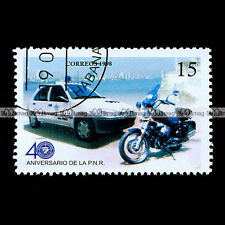★ GUZZI 750 NEVADA & PEUGEOT 106 POLICE ★ Timbre Moto / Motorcycle Stamp #43
