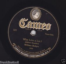 William Robyn on 78 rpm Cameo 581: Why Live a Lie?/I Can't Forget Your Eyes