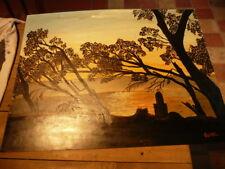 PEINTURE SUR CARTON COUCHE DE SOLEIL EN AFRIQUE DROMER - COTE AKOUN  65  x 50 cm