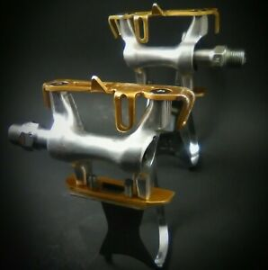 MKS RX-1 Track Pedals NJS 9/16 GOLD color. Racing road bike.