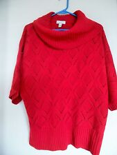 Kim Rogers Size L Red Acrylic Short Sleeve Cowl Neck Career Casual Sweater