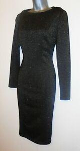 Gok Wan Black Gold Sparkle Shapewear  Stretch Midi Evening Occasion Dress Sz 10