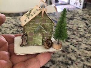 """Tim Holtz Paper Village House  TINY CHRISTMAS ORNAMENT Handcrated OOAK """"MAGIC"""""""