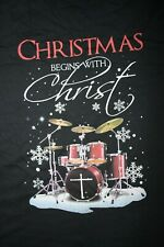 CHRISTMAS begins with CHRIST- Drummer T-Shirt  3XL, Black