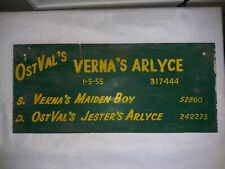 1955 Wood Cattle Cow Stall Sign Wisconsin County State Fair Verna'S Arlyce