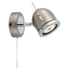Searchlight Palmer Satin Silver Chrome White Pull Switch Single Wall Spot Light