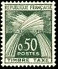 """FRANCE STAMP TIMBRE TAXE N° 93 """" TYPE GERBES 50c. VERT """" NEUF xx TTB"""