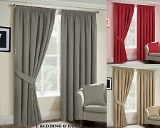 Fully Lined Ready-made Pencil pleat Heavy Brushed Plain Curtains with Tie Backs