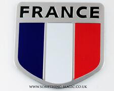 Nouveau Aluminium Brossé drapeau français france voiture badge peugeot citroen
