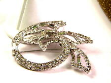 Vintage Pave Rhinestone Gorgeous Large Abstract Brooch