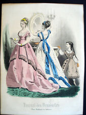Vintage French Color Gravure de Mode 1868 Journal des Demoiselles Paris Inv1400