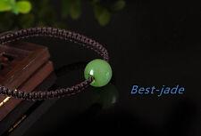Top Grade Apple Green Nephrite Jade NZ Brown rope 12mm Beads Bangle Bracelet