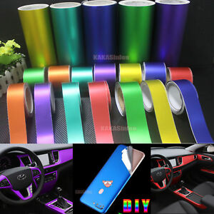 DIY Tape Decoration Car Matte Chrome Satin Metallic Vinyl Wrap Home Sticker - CF