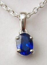 GENUINE SOLID 925 STERLING SILVER SAPPHIRE SEPTEMBER  BIRTHSTONE PENDANT