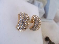 VTG Christian Dior Pave Crystal Rhinestone Wide Half Hoop gold Pierced Earrings