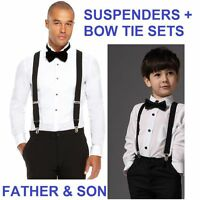FATHER & SON COMBO - MATCHING BLACK ADJUSTABLE SUSPENDERS + BOW TIE SET SETS
