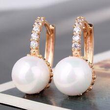 18k Gold Plated Pearl Crystal/Cubic Zirconia Diamante Hoop Drop Earrings-Uk
