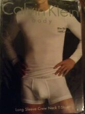 CLAVIN KLEIN SLIM FIT LONG SLEEVE CREW NECK T-SHIRT WHITE LARGE