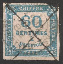 Taxe N°9 60c bleu, càd Seine inférieure + plume, cote 150€
