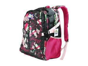 2 Kool 4 Skool Kids Graffiti School Backpack with multiple compartments - Pink
